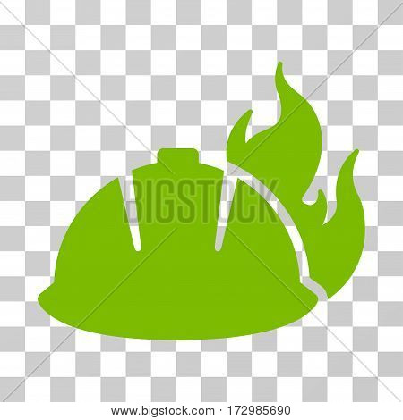 Fire Helmet vector pictograph. Illustration style is flat iconic eco green symbol on a transparent background.
