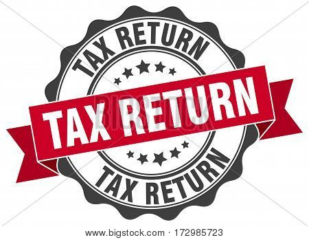 tax return. stamp. sign. seal. round. retro. ribbon