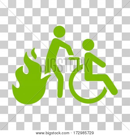 Fire Patient Evacuation vector pictogram. Illustration style is flat iconic eco green symbol on a transparent background.