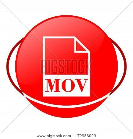 Red icon, mov file vector illustration on white background