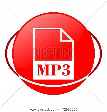 Red icon, mp3 file vector illustration on white background