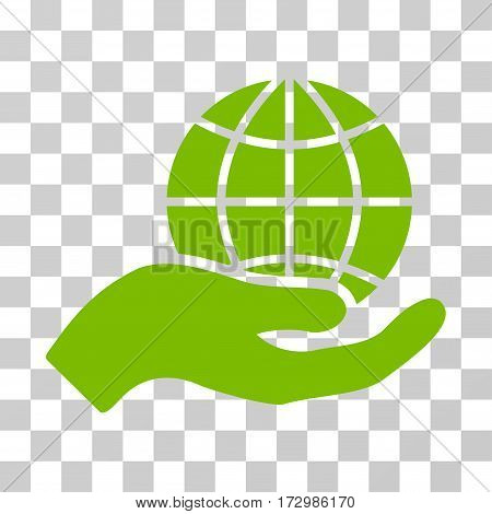 Global Care vector pictogram. Illustration style is flat iconic eco green symbol on a transparent background.