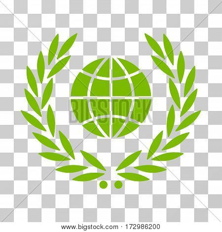 Global Emblem vector pictograph. Illustration style is flat iconic eco green symbol on a transparent background.