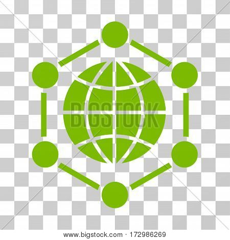 Global Frame vector icon. Illustration style is flat iconic eco green symbol on a transparent background.