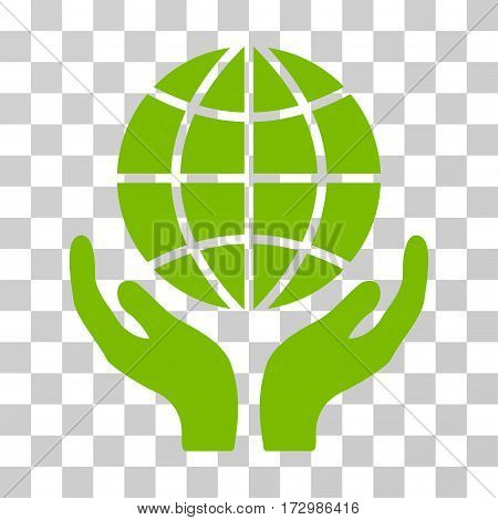 Global Hands vector pictograph. Illustration style is flat iconic eco green symbol on a transparent background.