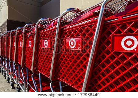 Indianapolis - Circa February 2017: Target Retail Store Baskets. Target Sells Home Goods Clothing and Electronics XIII