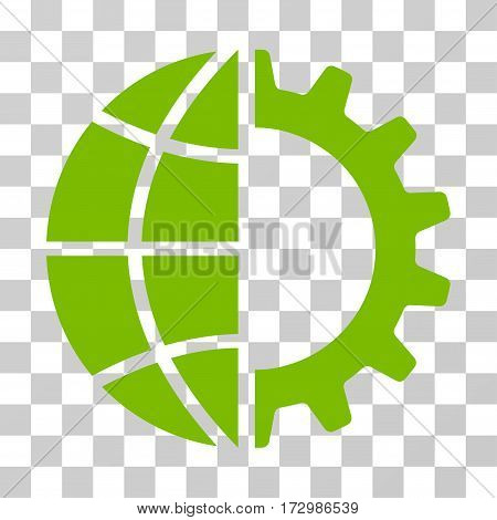 Global Industry vector pictograph. Illustration style is flat iconic eco green symbol on a transparent background.