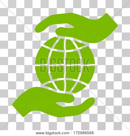 Global Insurance vector pictograph. Illustration style is flat iconic eco green symbol on a transparent background.