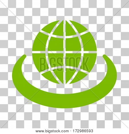 Global Network vector pictograph. Illustration style is flat iconic eco green symbol on a transparent background.