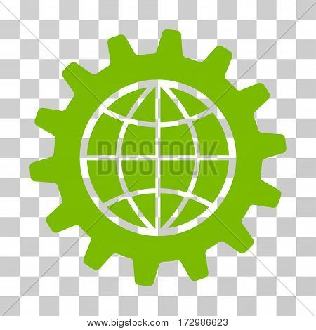 Global Options vector pictograph. Illustration style is flat iconic eco green symbol on a transparent background.