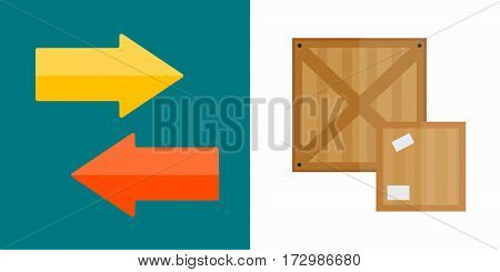 Shipping transportation moving box vector illustration. Delivery transportation object storage package gift. Carton pack post moving relocation unfurnished.