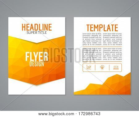 Flyer design template. Brochure layout design in polygonal style.