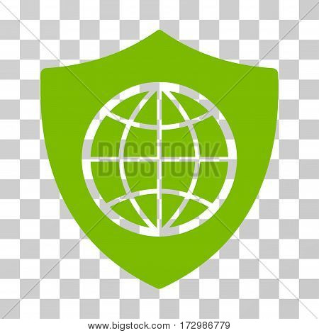 Global Shield vector pictograph. Illustration style is flat iconic eco green symbol on a transparent background.
