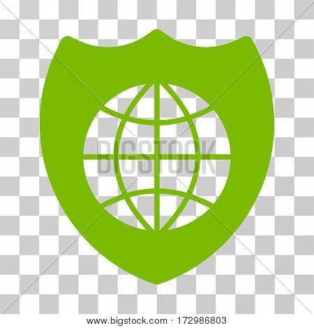 Global Shield vector icon. Illustration style is flat iconic eco green symbol on a transparent background.