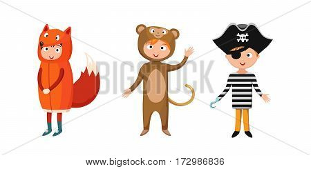 Kids different costumes isolated vector illustration. Playful character spooky baby superhero bear and fox pirate. Children party funny clothes.