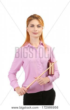 Young teacher with pointer on white background