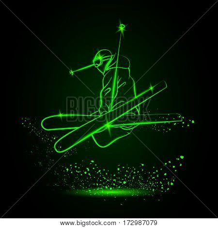 Skiing freestyle. Neon sports background. Vector illustration.