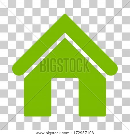 Home vector pictogram. Illustration style is flat iconic eco green symbol on a transparent background.