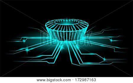 Night stadium with the ball. Rays of energy. Vector neon illustration.
