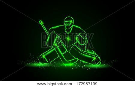Hockey goalie, vector green neon illustration. Sports background