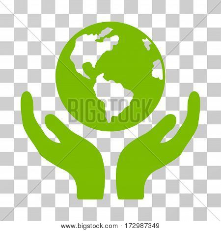 International Insurance vector icon. Illustration style is flat iconic eco green symbol on a transparent background.