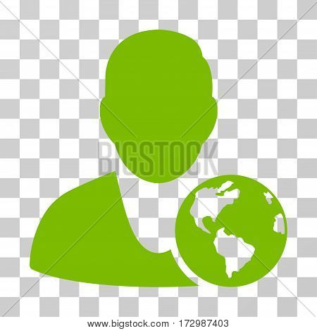 International Manager vector icon. Illustration style is flat iconic eco green symbol on a transparent background.