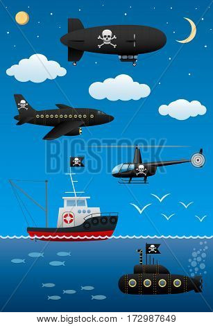 Pirate transport and technology. A fantastic world of pirates. Cartoon flat style. Vector illustration.