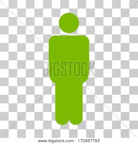 Man vector pictograph. Illustration style is flat iconic eco green symbol on a transparent background.