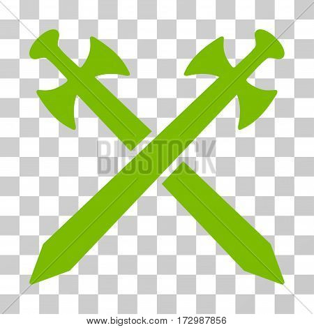 Medieval Swords vector pictograph. Illustration style is flat iconic eco green symbol on a transparent background.