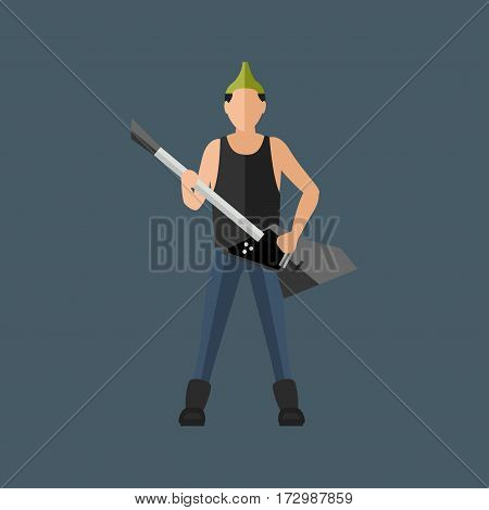 Cartoon musician play on sound modern guitar and young male acoustic artist song entertainment on electric instrument with bright emotions vector illustration. Rock concert man character.
