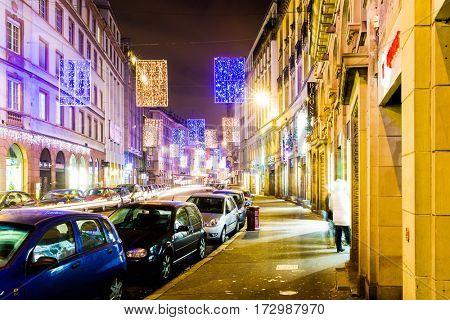 STRASBOURG, FRANCE - DEC 2016: Streets of Strasbourg in France