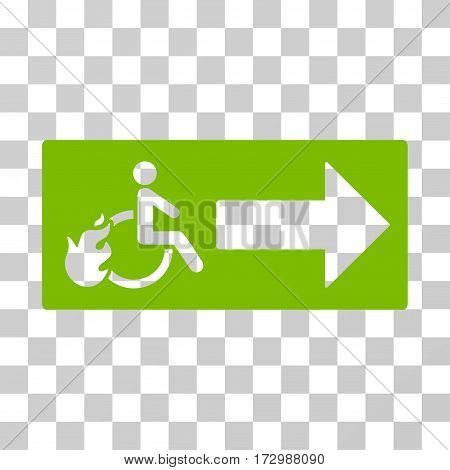 Patient Exit vector icon. Illustration style is flat iconic eco green symbol on a transparent background.