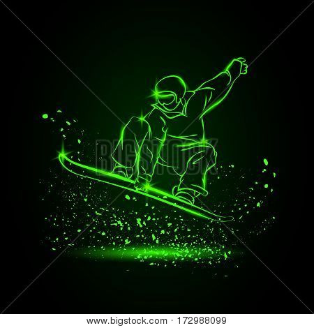 Snowboarder jumping. Neon sports background. Vector illustration.