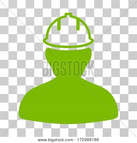 Person In Hardhat vector pictogram. Illustration style is flat iconic eco green symbol on a transparent background.