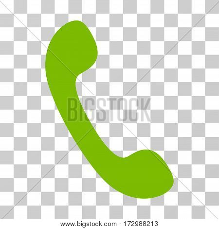 Phone vector pictogram. Illustration style is flat iconic eco green symbol on a transparent background.