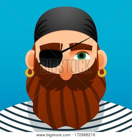 Portrait of a pirate. Cartoon style. Vector Image