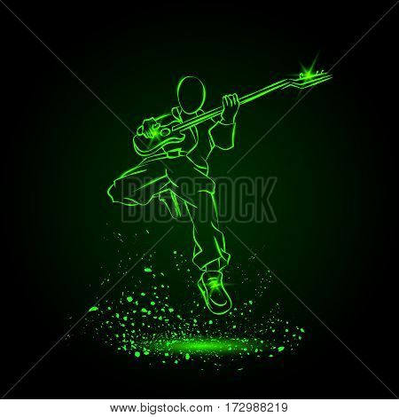 Rock Guitar Player Jumping with Sunglasses. Neon music background.