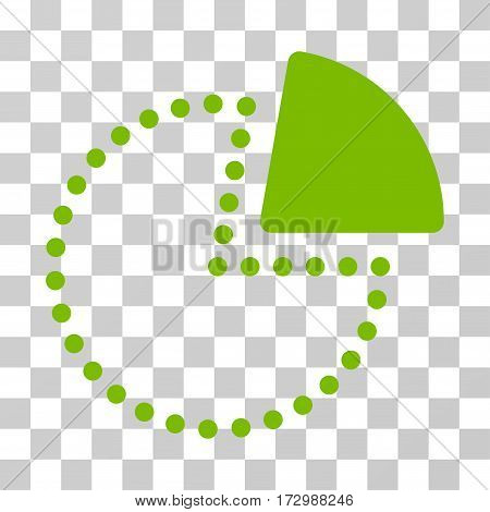 Pie Chart vector pictogram. Illustration style is flat iconic eco green symbol on a transparent background.