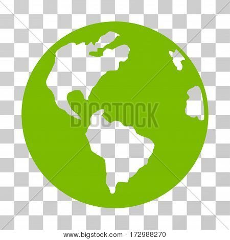 Planet Earth vector icon. Illustration style is flat iconic eco green symbol on a transparent background.