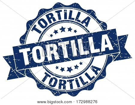 tortilla. stamp. sign. seal. round. retro. ribbon
