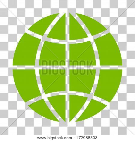 Planet Globe vector pictogram. Illustration style is flat iconic eco green symbol on a transparent background.
