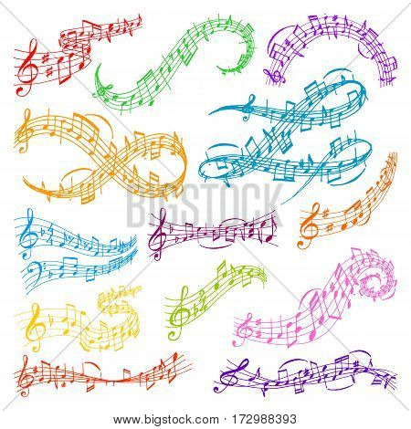 Vector music note melody symbols vector illustration waves