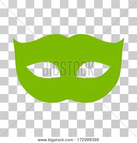 Privacy Mask vector pictogram. Illustration style is flat iconic eco green symbol on a transparent background.