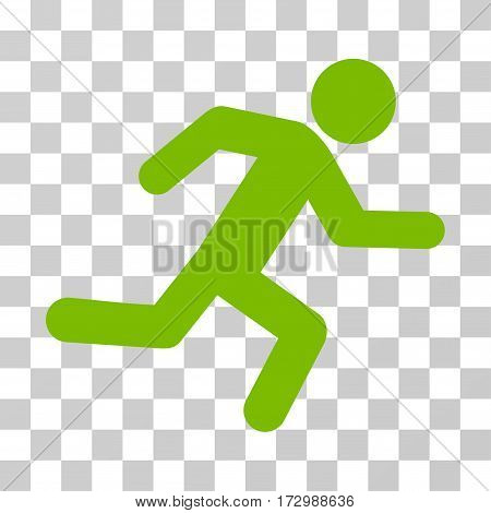 Running Man vector icon. Illustration style is flat iconic eco green symbol on a transparent background.