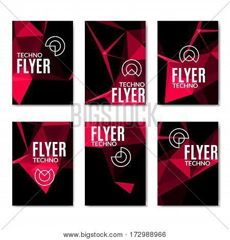 Abstract technology polygonal flyer set. Modern polygonal flyer brochure set.