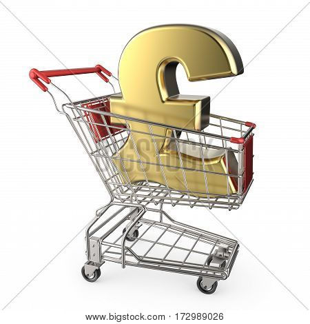 Red Shopping Cart With Golden Pound Currency Sign 3D