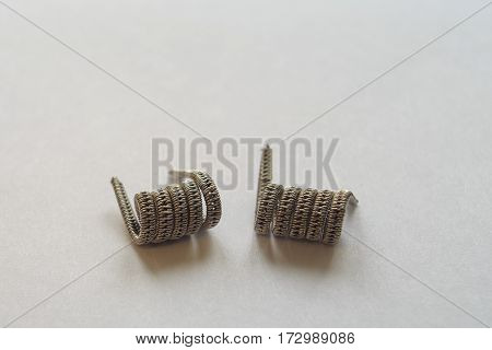 Electronic cigarette parts on the white background. Vaping.