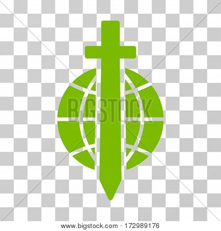 Sword Globe vector icon. Illustration style is flat iconic eco green symbol on a transparent background.