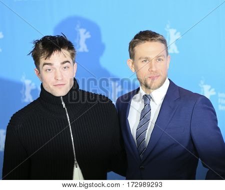 Robert Pattinson, Charlie Hunnam attend the 'The Lost City of Z' photo call during the 67th Film Festival Berlin at Hyatt Hotel on February 14, 2017 in Berlin, Germany.