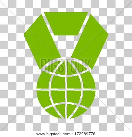 World Award vector icon. Illustration style is flat iconic eco green symbol on a transparent background.